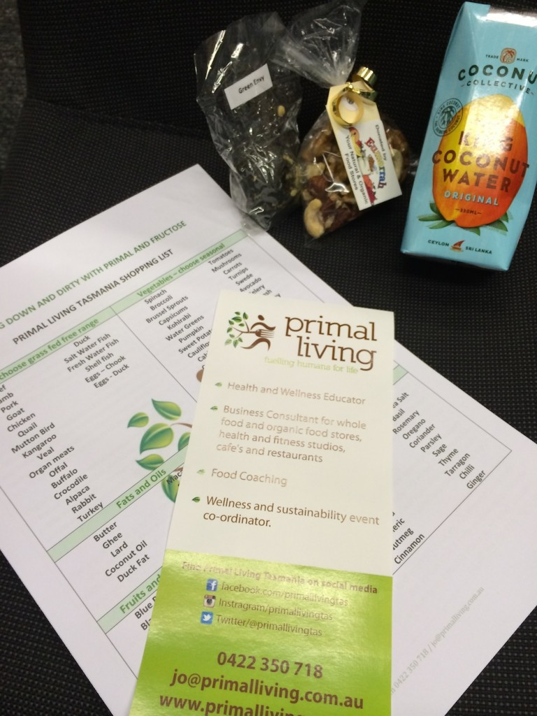 Guest were given goodies and information on implementing primal into their lives